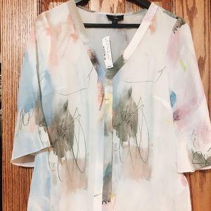 Jcrew watercolor silk blouse brand new